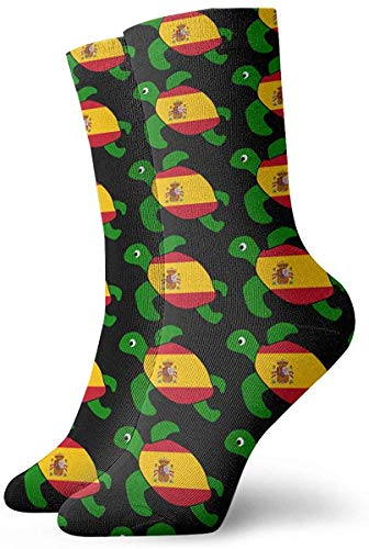 Calcetines personalizados de la bandera de España de la tortuga marina Medias deportivas coloridas y divertidas para hombres y mujeres
