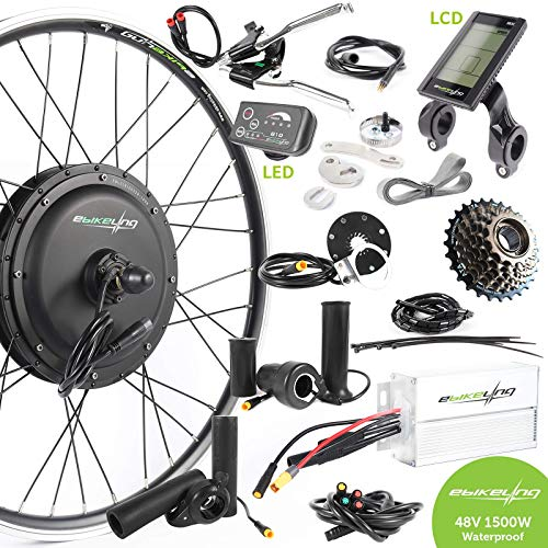 """EBIKELING 48V 1500W 26"""" Direct Drive Rear Waterproof Electric Bicycle Conversion Kit (Rear/LED/Thumb)"""