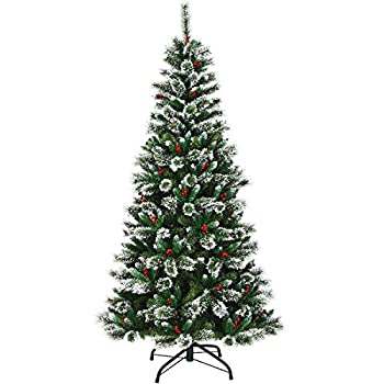 Goplus 7ft Snow Flocked Pencil Christmas Tree Premium Hinged Slim Tree with Red Berries and Metal Base 100% New PVC Material for Xmas Indoor and Outdoor Décor