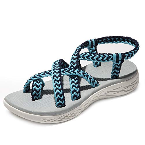 chitobae Comfortable Lightweight Soft Strappy Flat Sandals for Women(11 M US, Blue Black/Grey Bottom)