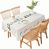 Qualsen Mantel Rectangular de PVC, fácil de Limpiar, Resistente al Agua, Resistente a Las Manchas, Vinilo, pájaro Multicolor, 137 x 200 cm