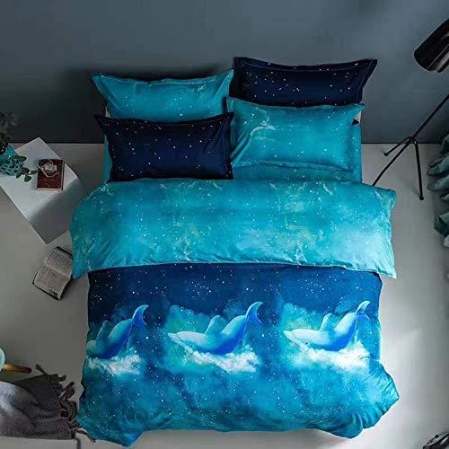 XUNGENG - Set di biancheria da letto decorativa, 2/3 pezzi, 100% microfibra, per bambine e adolescenti, copriletto leggero, motivo: cielo stellato (D,220 x 240 cm)
