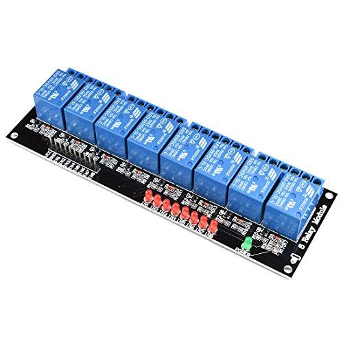 DZS Elec 2/4/8 Kanal 5 V Relais-Modul-Treibermodul mit Kontrollleuchte (kein optischer Koppler) SCM Control Board für Arduino/Raspberry Pi/DSP/AVR/51/PIC/ARM Black Board 8-Channel