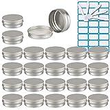TIANZD 25 Stück 40 ml Silber Leere Rund Aluminium Dosen Tins mit Schraub-Deckel Alu-Tiegel Schraubdose Kosmetik-Dose Cremedose Aludose Blechdosen für Kerze Salben 40ml mit 5X Löffel, 1x Aufkleber