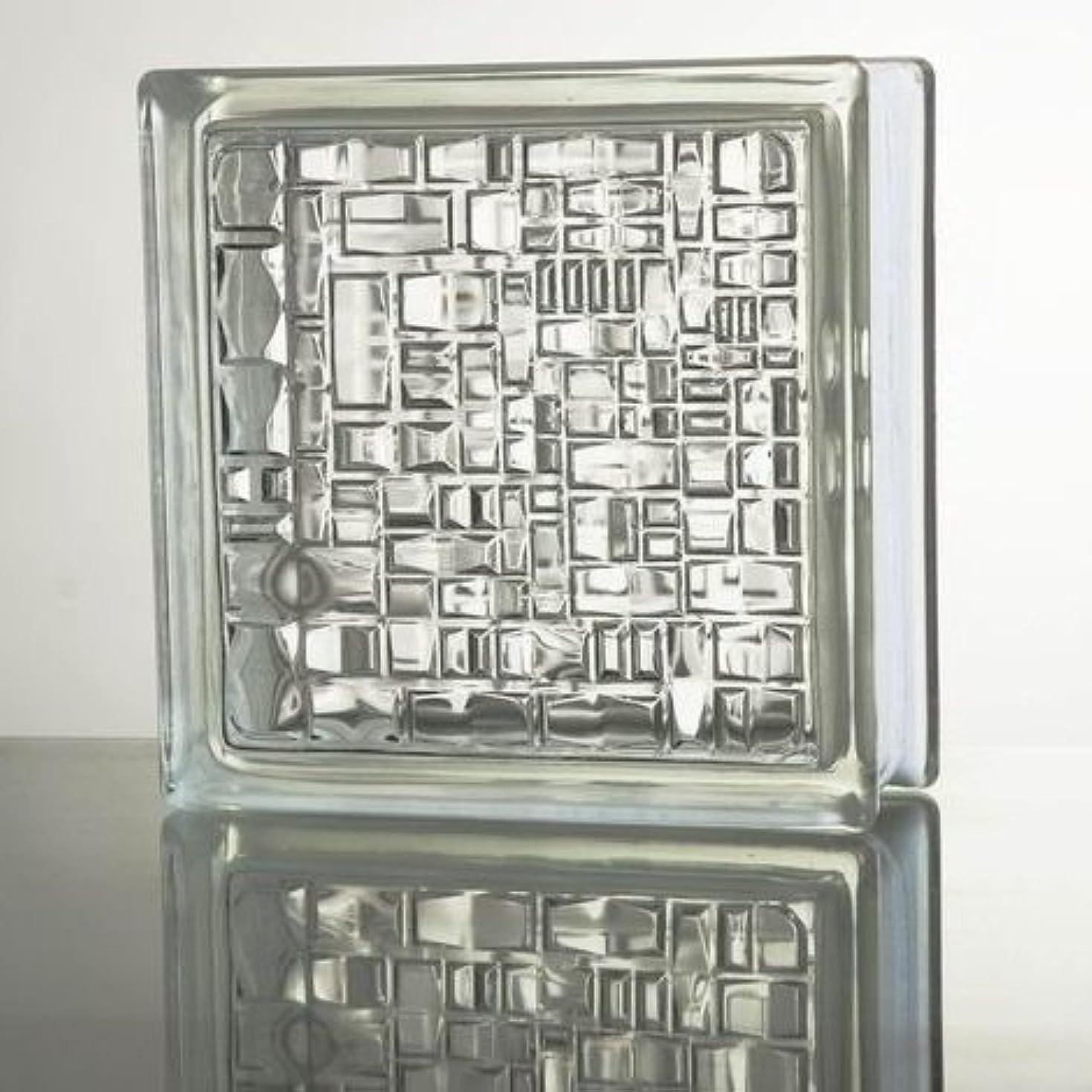 水を飲む正当な圧力ガラスブロック (厚み80mm クリア色モザイク) gb1780