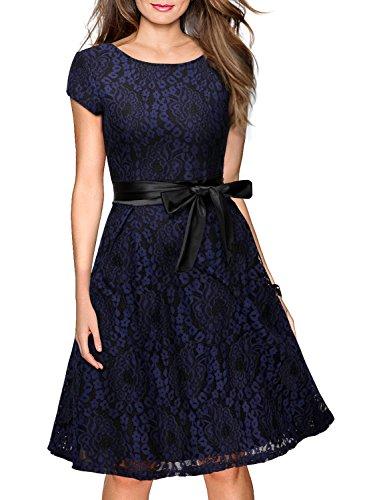 Miusol Women's Vintage Floral Lace Cocktail Evening Party Dress,Medium,Navy Blue and Black