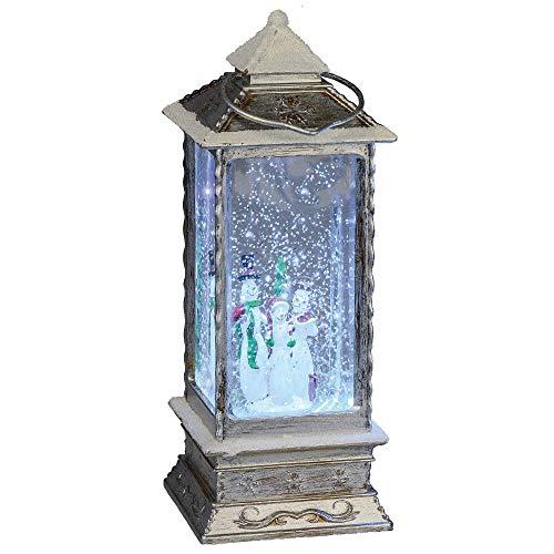 Formano Deko Laterne aus Kunststoff mit LED-Beleuchtung und Wasserfüllung mit Glitzer, 27x10,5cm, grau, weiß, 1 Stück