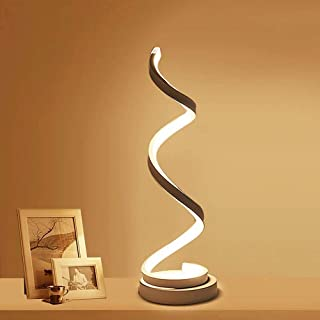 Modern Spiral LED Table Lamp - ELINKUME 12W Smart Dimmable Curved LED Desk Lamp, Contemporary Minimalist Design, Warm White Light, Creative Acrylic LED Modeling Lamp Perfect for Bedroom Living Room