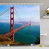 Hotyle Duschvorhang Set Mit Haken 120X180Cm Stadt Sommertor San Francisco Struktur Kalifornien USA Touristische Sehenswürdigkeiten Nebelparks Urban Outdoor