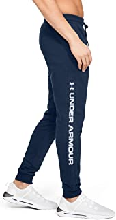 Under Armour Men's Rival Fleece Wordmark Logo Jogger Pants, Blue (Academy/White), Large