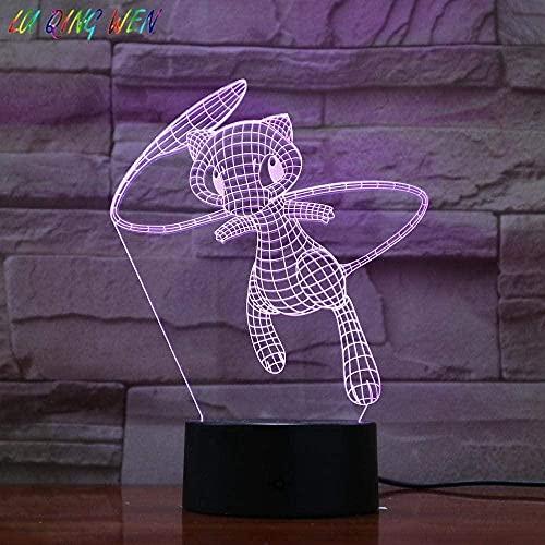 BTEVX 3D Illusion Lampe LED Night Light Pokemon Go Mew Touch Capteur Couleur Changement de couleur Ambiance Ambiance Ambiance Acrylique Mew Table de chevet Lampe Enfants S Best Holiday Holiday Cadeaux