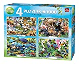 KING 55930 Jigsaw 4 in 1 Puzzle - 4 x 1000 Piece - Animal World - Including Posters, Full Colour
