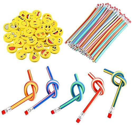Xndryan Soft Flexible Bendy Pencils, 62 Pcs Twist Bendy Pencils and Emoji...