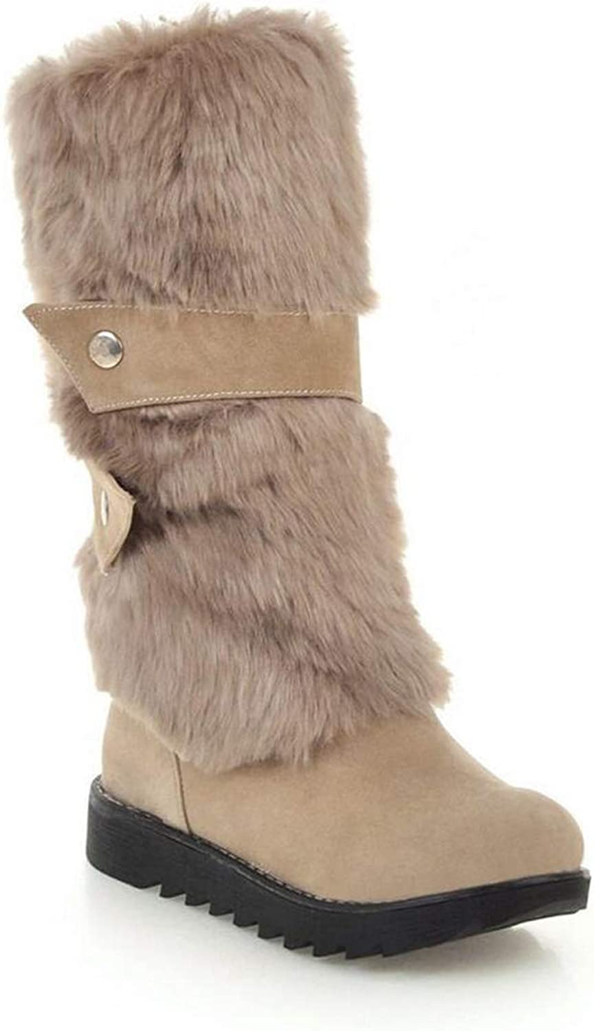Womens Ladies Flat Knee High Calf Winter Snow Warm Lined Ankle Boots No-Slip Sole Size (Black Brown Beige)