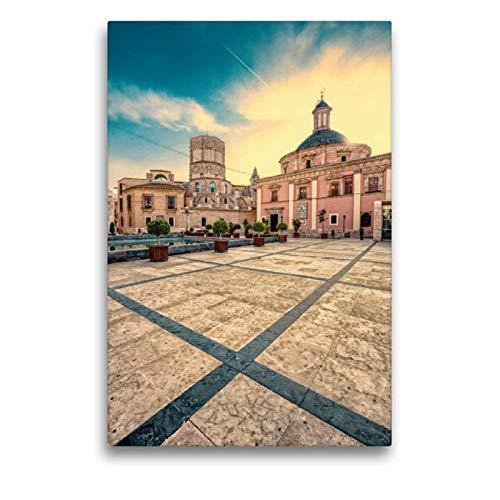 CALVENDO Premium Lienzo de 50 cm x 75 cm de Alto, Basílica de la Virgen de los Desamparados, Imagen sobre Bastidor, Imagen Lista en Lienzo auténtico, impresión en Lienzo Orte Lugares