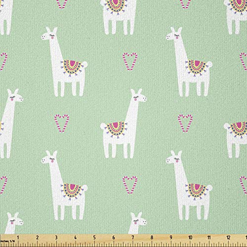 Ambesonne Llama Fabric by The Yard, Candy Cane Hearts Fun Pattern on Pastel Background, Stretch Knit Fabric for Clothing Sewing and Arts Crafts, 1 Yard, Mint Green