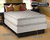 Dream Solutions Firm PillowTop (Queen Size 60'x80'x12') Mattress and Box Spring Set Double-Sided Sleep System with Enhanced Cushion Support- Fully Assembled, Great for Your Back, Longlasting Comfort