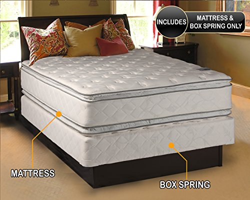 %15 OFF! Dream Solutions Firm PillowTop (Queen Size 60x80x12) Mattress and Box Spring Set Double-...