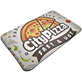 Cy-ril Fondo de Alimentos de Pizza Menú de Cocina Italiana Alfombrilla Antideslizante Alfombra para baño, Cocina, Entrada, Pasillo, Oficina