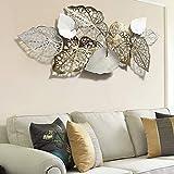 Anjur Metall Wanddeko Wanddekoration für Wohnzimmer Bad Küche Schlafzimmer Büro, Blätter Wandskulptur Dekorationen, 143 * 60CM