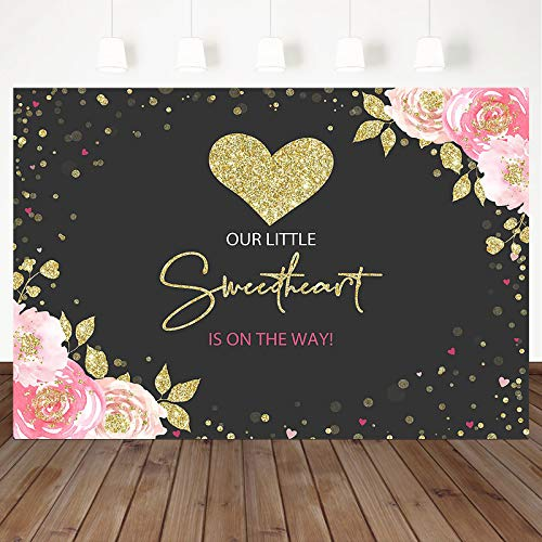 Mocsicka Sweetheart Baby Shower Backdrop Pink Gold Heart Baby Shower Background Valentines Girl Baby Shower Party Cake Table Decoration Banner Photo Booth Props (7x5ft)