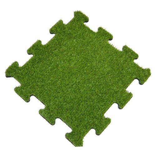 Mattonella in gomma con erba sintetica - sistema a puzzle (4 lati)