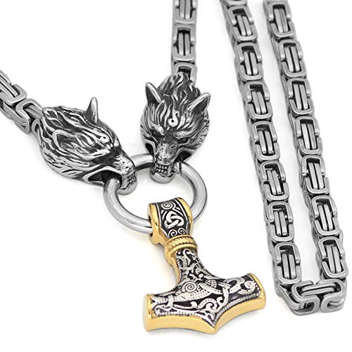 GuoShuang Men Stainless Steel Wolf Head Norse Viking Amulet Thor Hammer Pendant Necklace Viking King Chain Silver