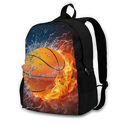 Fire Baseketball - Travel Laptop Backpack with Lock - 15 Inch Computer Business Backpacks for Women Men - College School Student Bookbag - Casual Outdoor Daypack