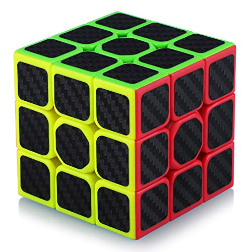 TOYESS Speed Cube Rompecabezas Cubo de Fibra de Carbono 3x3x3 Cubo Magico Liso Cubo de Velocidad Regalo para Adulto Niños,Negro
