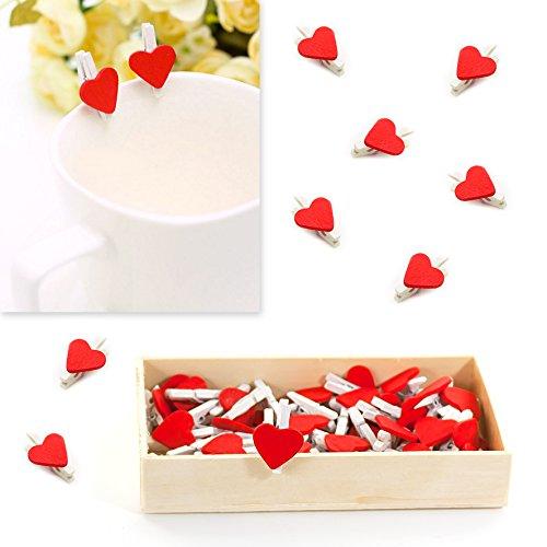 Oblique-Unique® Niedliche Mini Holz Wäscheklammern mit roten Herzen - 50 Stück