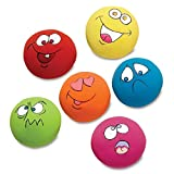 6 Pcs/Set Latex Pet Toys for Cat Dog Teeth Squeaker Ball Puppy Sound Squeaker Squeaky Ball with Face Fetch Toy