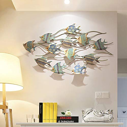 WLHER 3D Stereo Metal Wall Art Sculpture Metal Wall Decoration, Mediterranean Style Marine Theme Swimming Fish Shape, Perfect for Coastal, Nautical, Beach, Or Boat Décor 11266CM