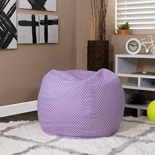 EMMA + OLIVER Small Lavender Dot Bean Bag Chair for Kids and Teens