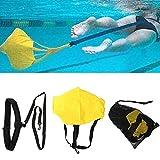 Conjunto de cinturón de entrenamiento de natación, cinturón de natación fijo Cuerdas de entrenamiento de fuerza Bandas de resistencia con cinturón de ejercicio de natación con paracaídas-yellow
