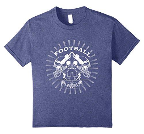 Kids American Football Sports Helmet T-Shirt Football Player Gift 10 Heather Blue