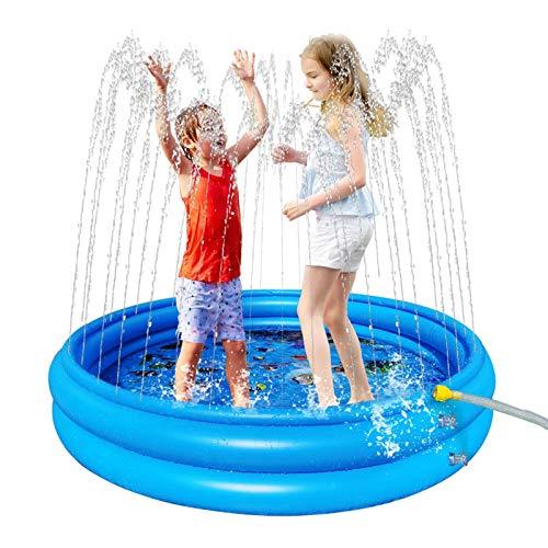 MOVKZACV Inflable Splash Pad 3 capas natación para niños PVC patio trasero verano actualización agua almacenamiento piscina, juguetes inflables, juguetes de verano fuera diversión