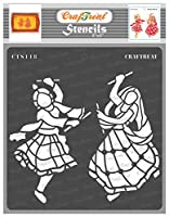 thecraftshop CrafTreat Stencil Dandiya Couple Reusable Painting Template for Art and Craft (6X6-inch)