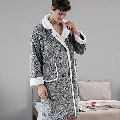 ASADVE Albornoces de Invierno para Hombre, cárdigan cómodo catiónico para Mujer, botón, Bata cálida para Parejas, Batas para el hogar-Hombres Gris_XXL