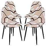 Ryoizen Fundas de Sillas Comedor Elásticas,4 Piezas Cubiertas Protectoras de Sillas para Oficina Cocina Hotel Restaurante Hogar Decor,Fundas de Sillas Sin Brazos Estilo Nórdico Beige