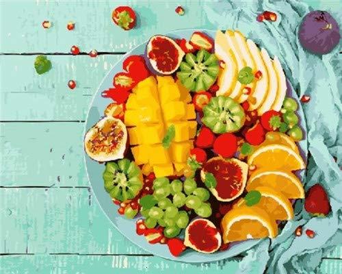 WFYY DIY Malen Nach Zahlen Obstpflanze Blau Malen Nach Zahlen Malset Mit Leinwand Für Erwachsene Kinder Gemälde Handgemalt Kit Geschenk Dekoration