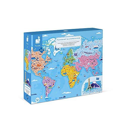 Janod - Puzle Educativo Infantil Curiosidades del Mundo, de 350Piezas - Desarrolla la Motricidad Fina y la Concentración - A partir de 7Años, J02677