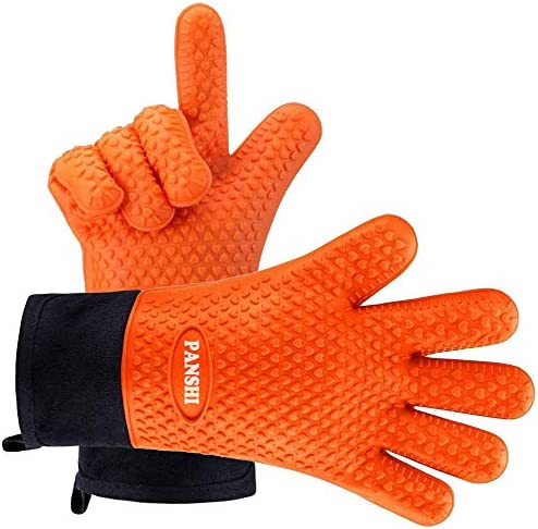 Panshi BBQ Grill Gloves Long Waterproof Silicone Oven Mitts Non Slip Heat Resistant Potholders product image