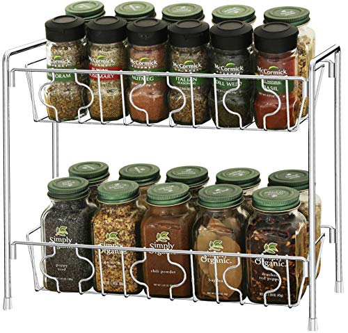SimpleHouseware 2Tier Kitchen Counter Organizer Spice Rack Chrome
