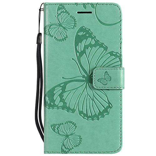 Docrax Sony Xperia Z3 Lederhülle, Handy Hülle Leder Klappbar Brieftasche Schutzhülle mit Kartenfach Magnetisch Stoßfest Handyhülle Flip Case für Sony Xperia Z3 - DOKTU45601 Grün