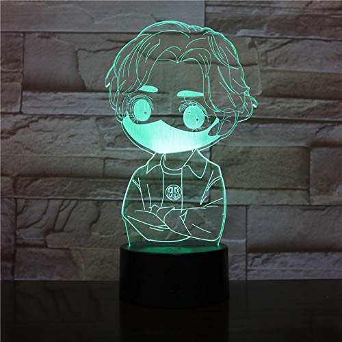 3D Cute boy with mask Shape Pattern Night Light,Sleep Light,Illusion Lamp,7 Color Change Decorative Lights, Kids Toys Birthday Gift Touch with Remote Control for Baby Adults Bedroom