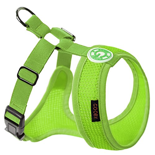 Gooby - Freedom Harness II, Choke Free Mesh Harness for Small Dogs with Microsuede Straps, Green, X-Small