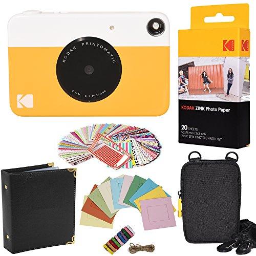 KODAK- Paquete Regalo de cámara instantánea Printomatic (Gris) + Papel Zink (20 Hojas) + Funda + 100 Marcos Adhesivos para Bordes + Marcos para Colgar + Álbum