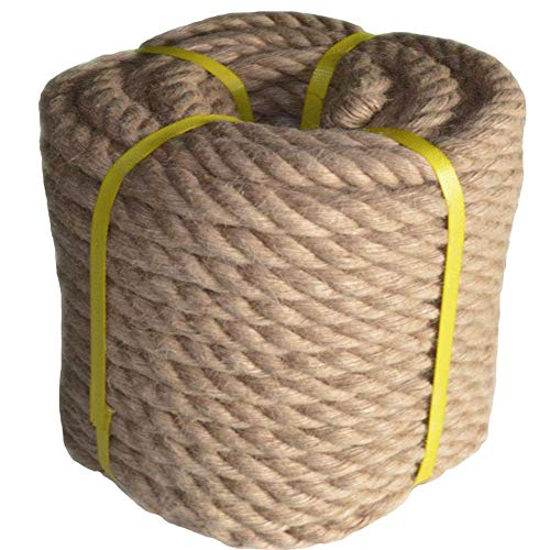 50 Feet x 1 Inch Natural Thick Jute Rope Twisted Manila Rope Hemp Rope for Craft Dock Decorative Landscaping Climbing,Tree Hanging Swing Tug War Rope