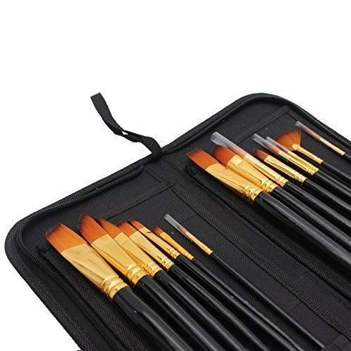 Brochas de nailon para pintura acrílica, acuarela y pintura al óleo con elegante estuche con cremallera (dorado y negro): Amazon.es: Hogar
