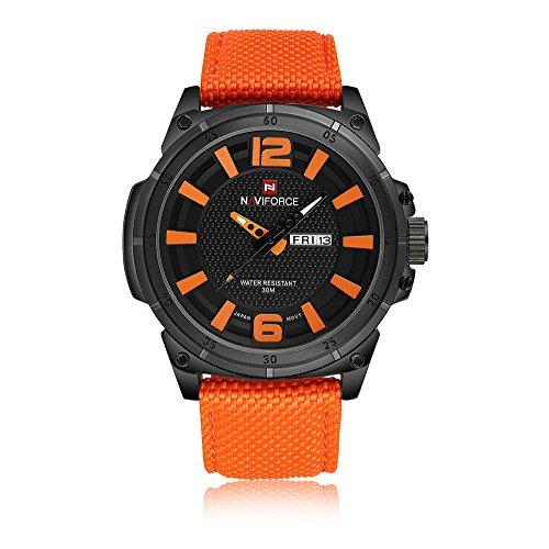 Naviforce Uomo Luxury Brand moda del movimento del Giappone Swiss Military s' Orologi sportivi 3M nylon impermeabile cinturino Arancione